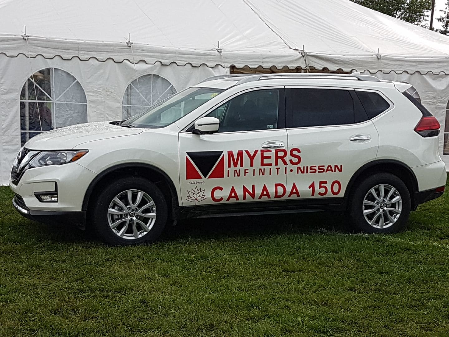 car with Canada 150 decals